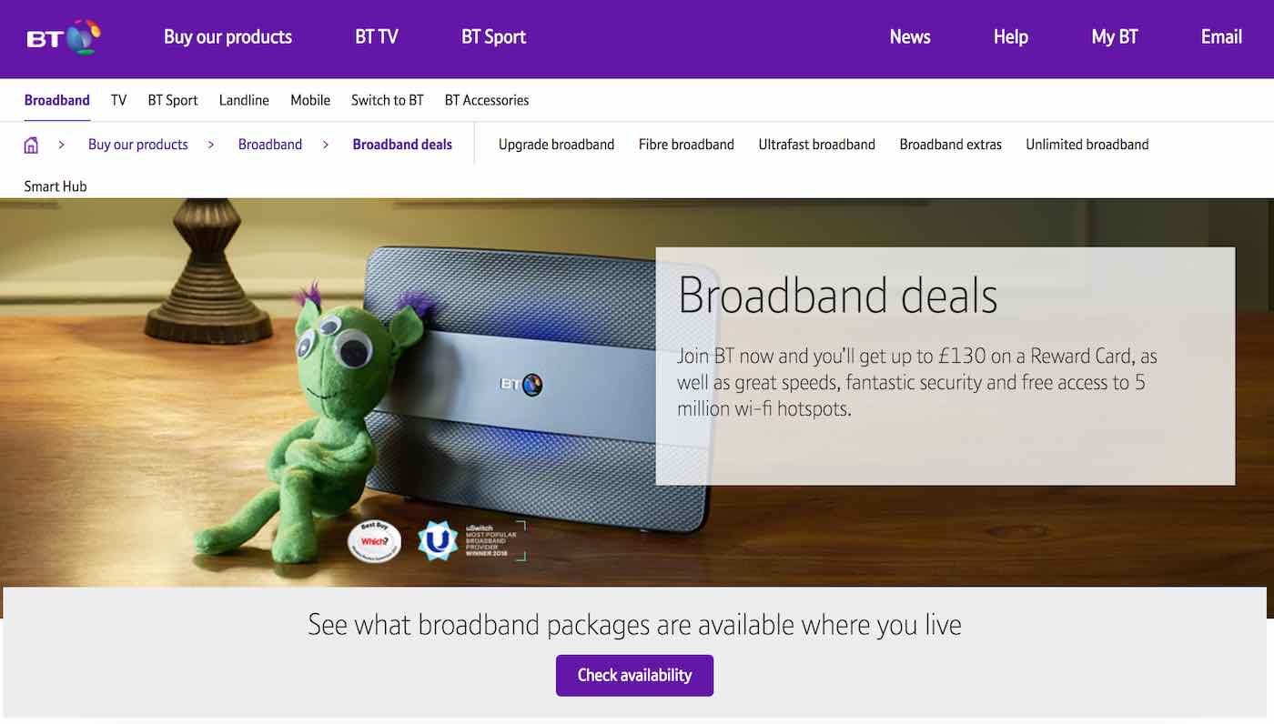 BT Broadband website