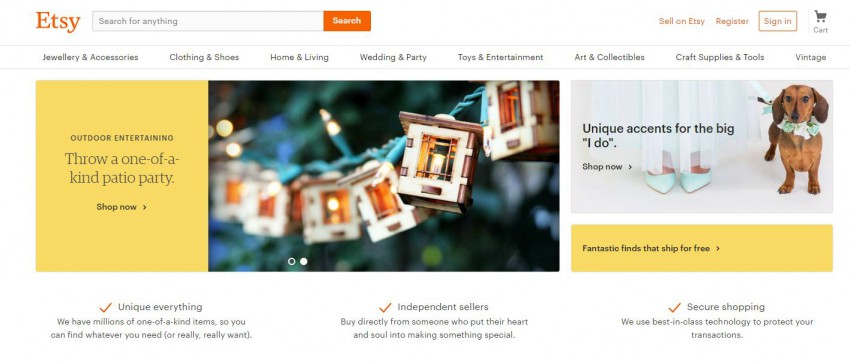 etsy homepage screenshot