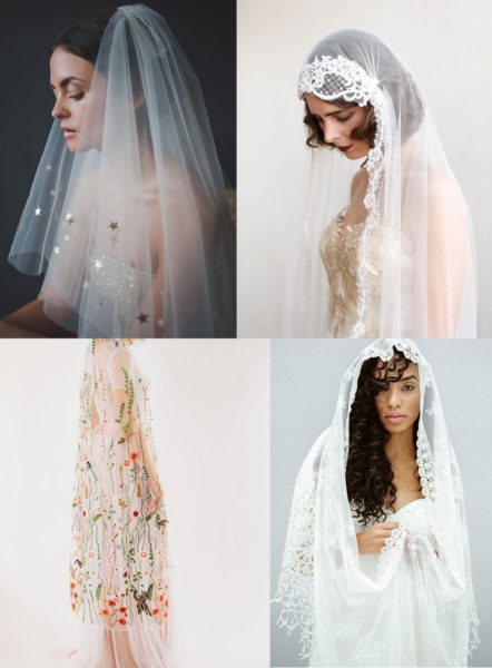 four different kind of wedding veils