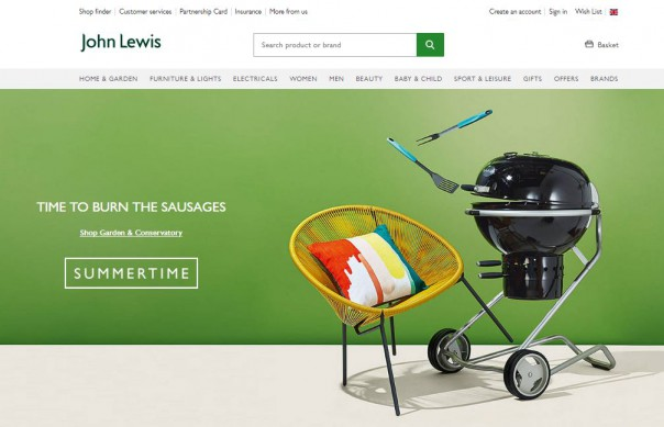 John Lewis website screenshot