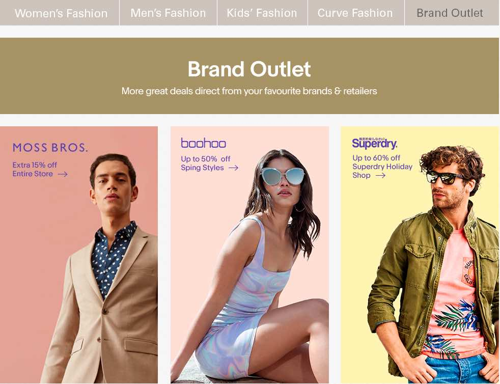 Women's and men's clothing on Ebay
