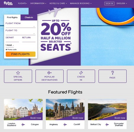 flybe homepage screenshot