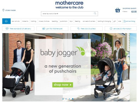 mothercare homepage screenshot
