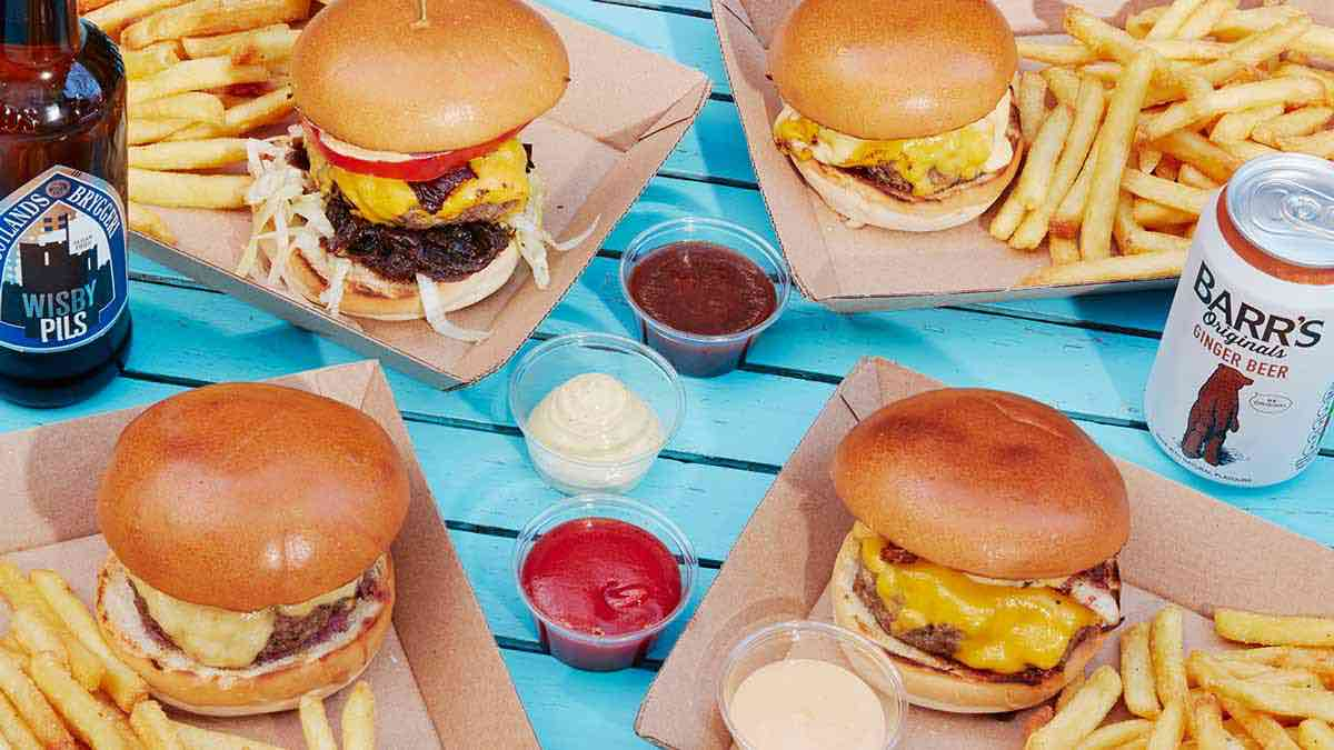 Deliveroo burgers and fries