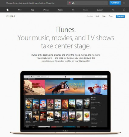 itunes homepage screenshot