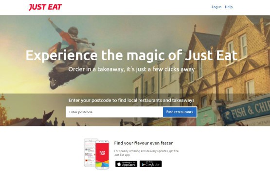 Just eat homepage screenshot