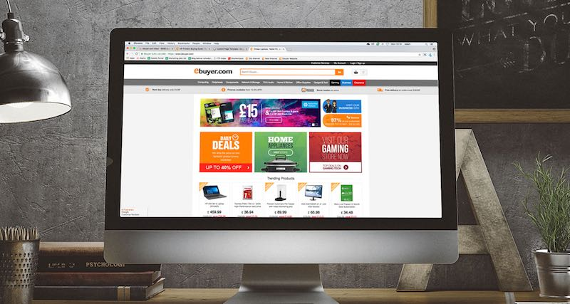 Desktop monitor showing Ebuyer's website