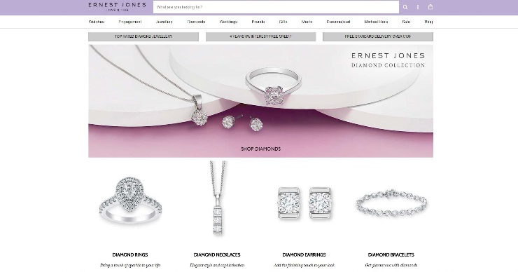 ernest Jones website screenshot
