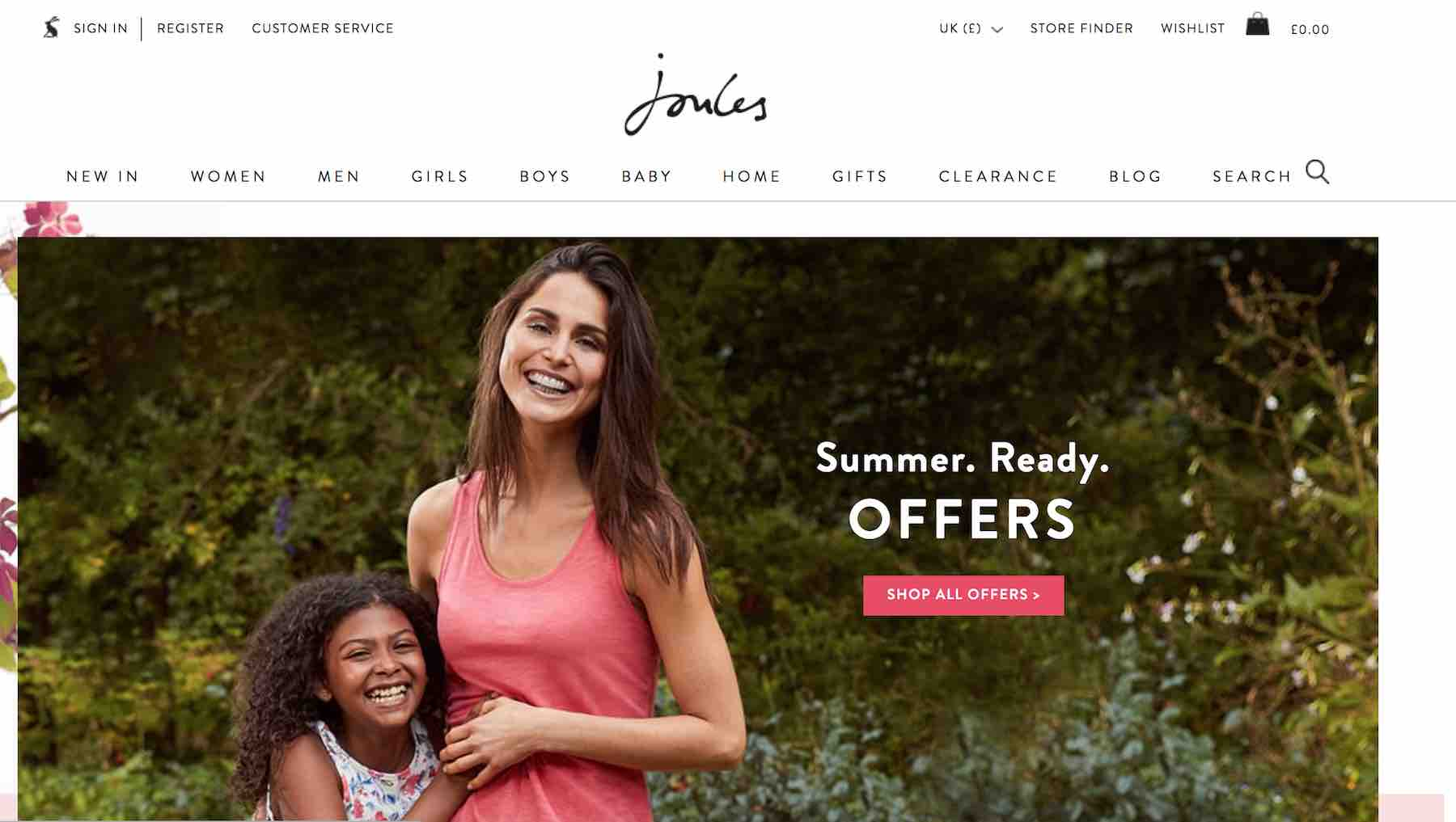 Joules website