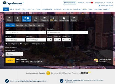 screenshot of expedia's website