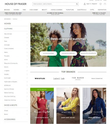 screenshot of house of fraser website