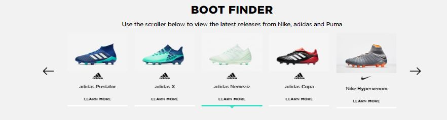 JD Sports football boots finder screengrab