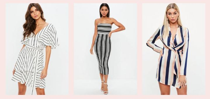 three women wearing striped missguided outfits
