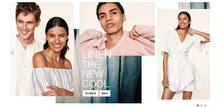 screenshot of gap homepage