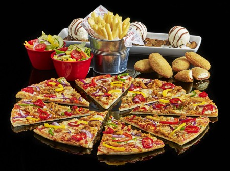 Pizza hut menu with fries and desert