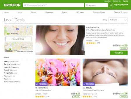 screenshot of groupon's homepage