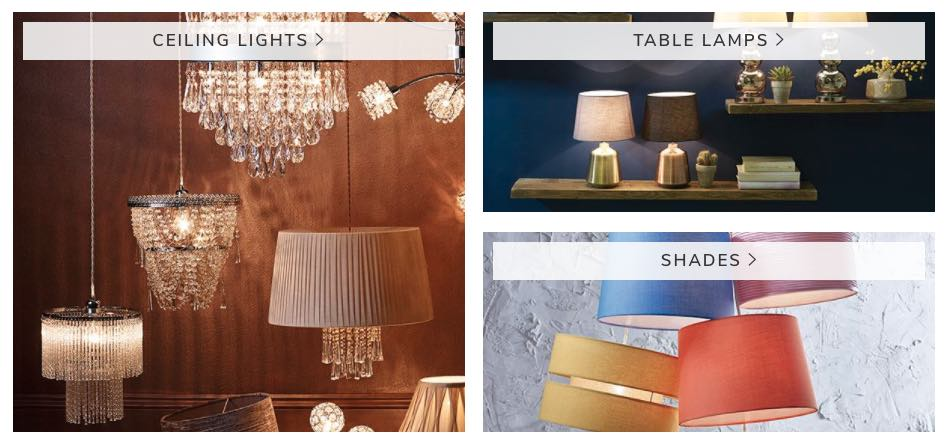 Dunelm's range of lighting
