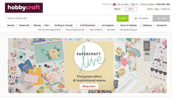 screenshot of hobbycraft website
